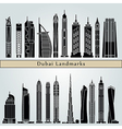 Dubai V2 landmarks and monuments vector image