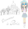 beautiful fashion girl in Paris vector image