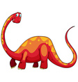 Red dinosaur with long neck vector image