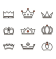 Different crowns collection Simple line design vector image vector image