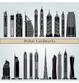 Dubai V2 landmarks and monuments vector image