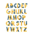 Retro font in grey and yellow Beige alphabet vector image