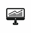 Growth graph on the computer monitor icon vector image