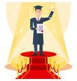 student on red carpet vector image