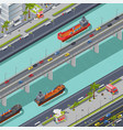 bridges in city isometric composition vector image