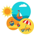 SUMMER TIME yellow beach with blue sea vector image