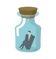 Businessman in glass jar Boss in bottle Desperate vector image