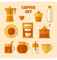 Flat coffee icons set vector image