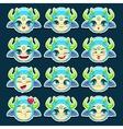 Funny cartoon blue monster emotions set vector image