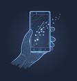 hand smartphone dark theme vector image