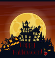 happy halloween postcard with pumpkins and scary vector image