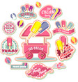 ice cream emblem set vector image