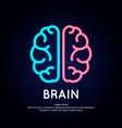 neon logo brain color silhouette on a dark vector image