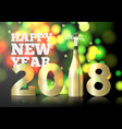 new year invitation with champagne bottle vector image