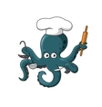 Octopus chef in white cook hat cartoon character vector image