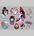 set of flash style japanese patches stickers vector image