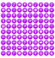 100 kids activity icons set purple vector image