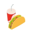 Mexican taco and soda cup vector image