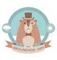 Happy groundhog day label isolated on white vector image