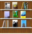 Bookshelf with books vector image