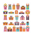 birthday surprise set of different gift boxes vector image