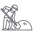 builder working with shovel line icon sign vector image