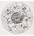 cartoon cute doodles hand drawn russian food vector image