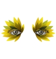 Photorealistic eye artistic feather makeup close vector image