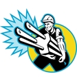 Electrician or power lineman carrying a plug vector image