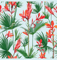 seamless flowers and palm leaves background vector image vector image