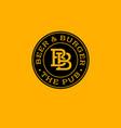 bb letters beer and burger pub emblem vector image