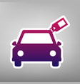 car sign with tag purple gradient icon on vector image