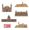 Landmarks and sightseeings of Cuba vector image
