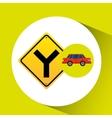 fork road sign sedan red vector image vector image