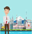 Businessman thinking with japan buildings landmark vector image