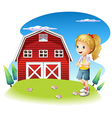 A girl in front of the red barnhouse in the vector image vector image