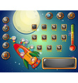 Game template with space theme vector image