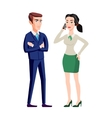 Business people man and woman consults over book vector image