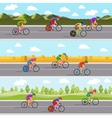 Racing bicyclists on bikes Seamless panoramic vector image