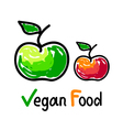 Vegan food emblem with green and red apple icons vector image