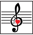 with treble clef and heart on white vector image