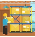 Pallet with Boxes in Warehouse Interior Loading vector image