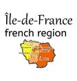 Ile-de-France french region map vector image