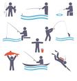 Fishing symbols vector image vector image