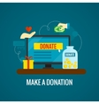 Donations online with laptop icon vector image