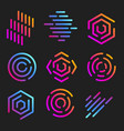 isolated line art logos templates abstract linear vector image