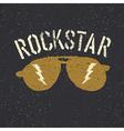Sunglasses with thunderbolt Rockstar tee print vector image