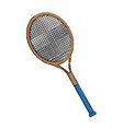 tennis racket sport equipment wooden handle vector image