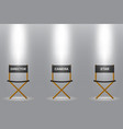 three chair for director camera and star under vector image