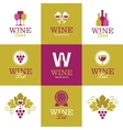 Wine logos icons signs and symbols vector image